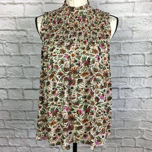 Anthropologie Maeve Floral Smocked Top Size 2